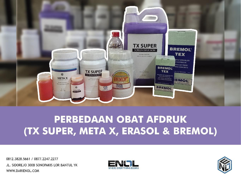 Perbedaan Obat Afdruk (TX-Super, Meta X, Erasol, dan Bremol TEX)